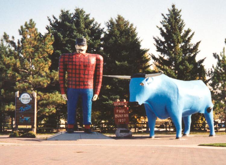 Paul Bunyan And Babe Statues Bemidji Minnesota Crop